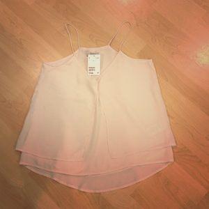 H&M Chiffon halter top, blush, NWT